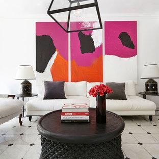 Diseño de salón para visitas cerrado, contemporáneo, sin chimenea y televisor, con paredes blancas