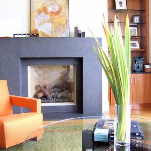 Foto di un soggiorno minimal con pareti bianche e camino classico
