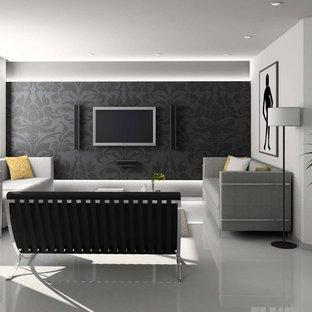 Ispirazione per un piccolo soggiorno moderno chiuso con sala formale, pareti nere, pavimento in gres porcellanato e TV a parete