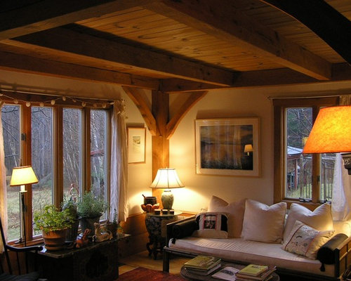 example of a small arts and crafts formal and open concept light wood floor living room