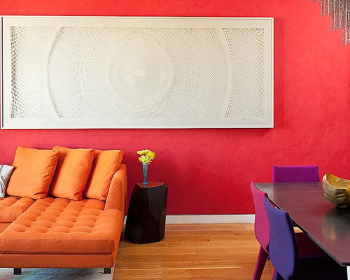 Trendy Open Concept Medium Tone Wood Floor Living Room Photo In San  Francisco With Red Walls