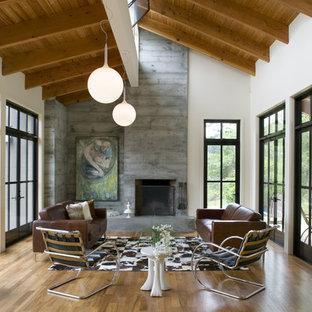 Modelo de salón para visitas abierto, actual, grande, sin televisor, con chimenea tradicional, paredes blancas, suelo de madera en tonos medios y marco de chimenea de hormigón