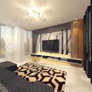 他の地域の中サイズのコンテンポラリースタイルのおしゃれな独立型リビング (フォーマル、白い壁、磁器タイルの床、埋込式メディアウォール、白い床) の写真