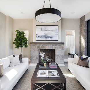 Transitional Formal Living Room Photo In Los Angeles With Beige Walls, A  Standard Fireplace,