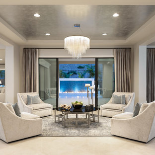 Transitional formal and open concept marble floor and beige floor living room photo in Orange County with gray walls