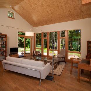 Ispirazione per un soggiorno minimalista di medie dimensioni e aperto con pareti beige, pavimento in legno massello medio, nessun camino e TV autoportante