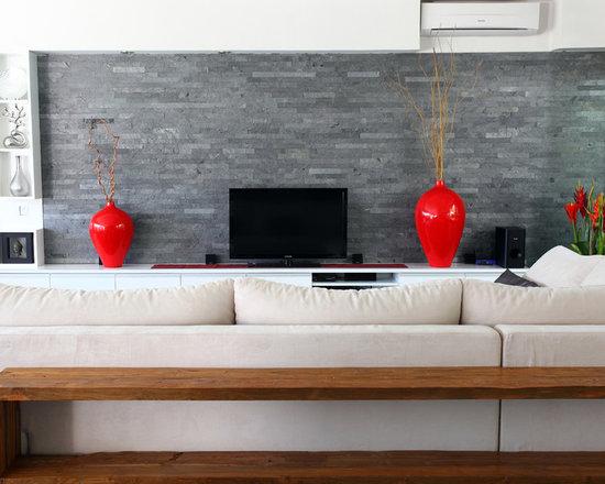 island stone silver quartzitic slate large strip living room wall