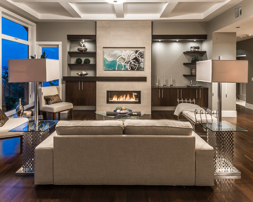 Trendy living room photo in Vancouver with gray walls and a ribbon fireplace