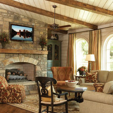 Traditional Living Room by Rustic Brick and Stone