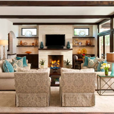 Living room - large transitional formal and open concept dark wood floor and brown floor living room idea in Dallas with beige walls, a standard fireplace, a stone fireplace and a wall-mounted tv