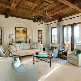 Tuscan formal and enclosed dark wood floor and brown floor living room photo in Other with beige walls