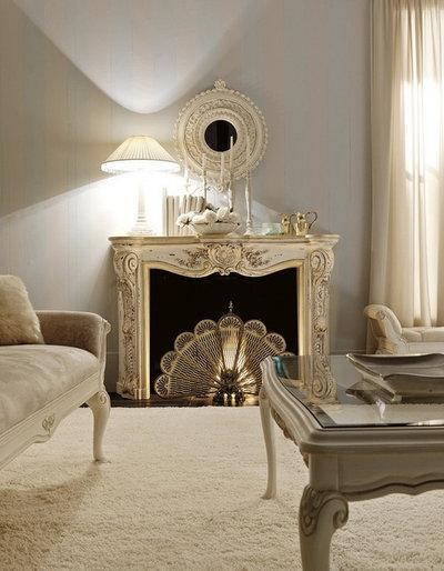 Traditional Living Room Italian Fireplace
