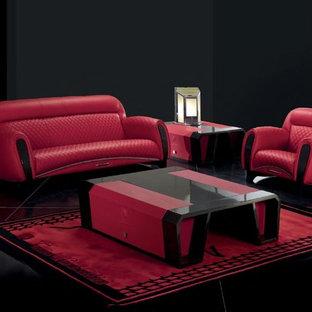 Ispirazione per un soggiorno moderno di medie dimensioni e aperto con sala formale, pareti nere, moquette, camino classico, cornice del camino in legno e TV autoportante