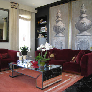 Living room - traditional formal living room idea in Other with black walls