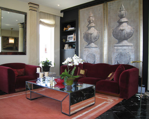 Burgundy Living Room Design Ideas Renovations Photos