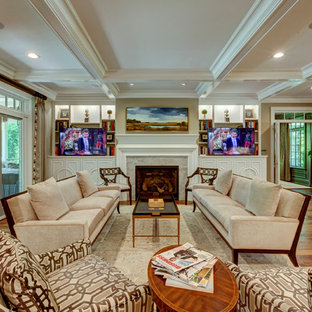 Design ideas for an expansive traditional formal open concept living room in Raleigh with grey walls, dark hardwood floors, a standard fireplace, a stone fireplace surround and a concealed tv.
