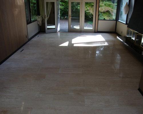 Ivoria 12x24 Vein Cut Travertine Flooring Project