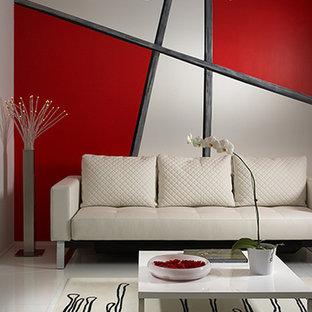 Ejemplo de salón para visitas contemporáneo, de tamaño medio, con paredes multicolor, suelo de mármol y suelo blanco