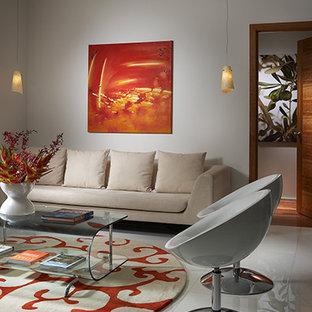 Ispirazione per un soggiorno contemporaneo di medie dimensioni e aperto con sala formale, pareti bianche, pavimento in marmo e pavimento bianco