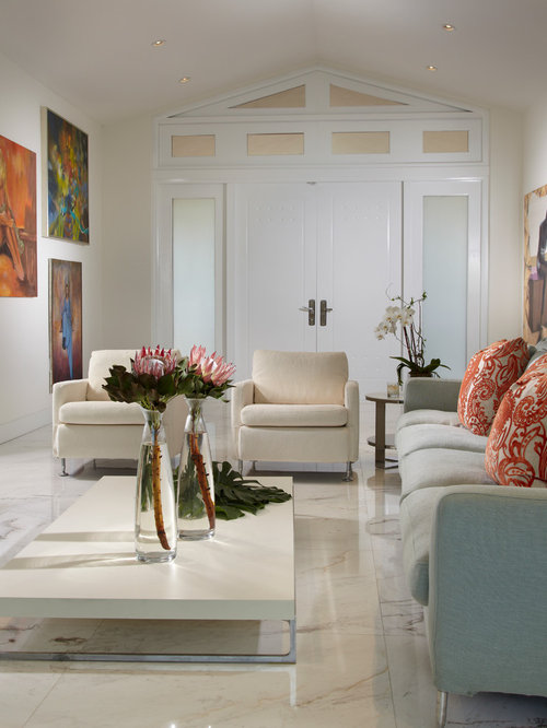 Example Of A Mid Sized Trendy Formal And Open Concept Marble Floor Multicolored