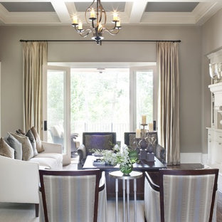 Inspiration for a large timeless living room remodel in Atlanta with gray walls and a standard fireplace