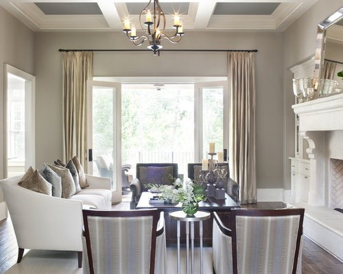 Inspiration For A Large Timeless Living Room Remodel In Atlanta With Gray Walls And Standard
