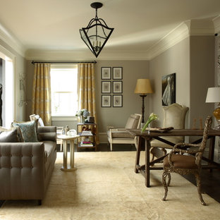 Example Of A Large Clic Living Room Design In Atlanta With Gray Walls