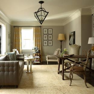 Ispirazione per un grande soggiorno chic con pareti grigie