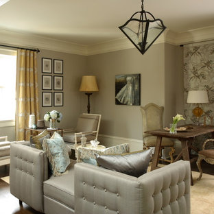 Inspiration For A Timeless Living Room Remodel In Atlanta With Gray Walls