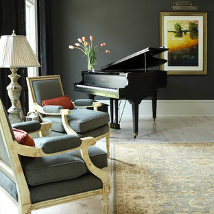 Example of a classic living room design in Atlanta with a music area
