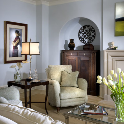 Living room - traditional living room idea in Atlanta with blue walls