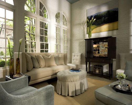 Large Traditional Living Room Idea In Atlanta With White Walls