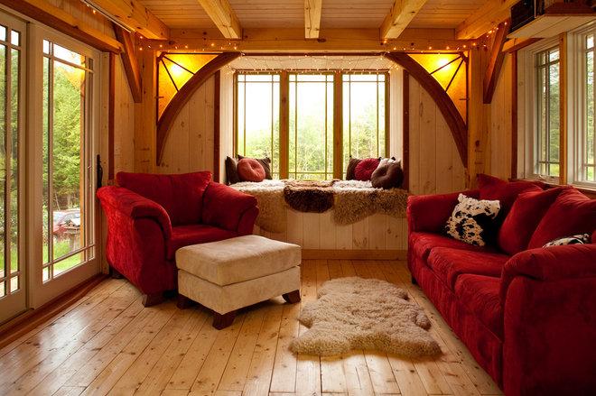 Rustic Living Room by Timberhomes LLC