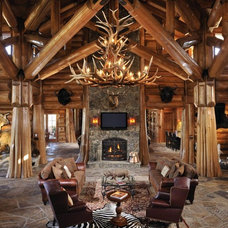 Rustic Living Room by Summit Log & Timber Homes