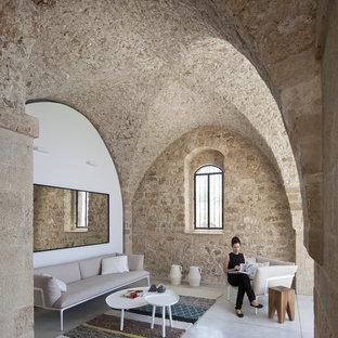 Diseño de salón minimalista de tamaño medio
