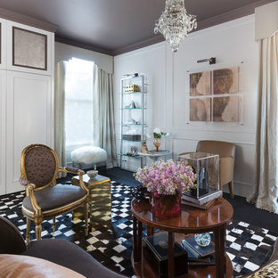 Inspiration for a mid-sized eclectic formal and open concept carpeted and black floor living room remodel in San Francisco with white walls, no fireplace and no tv