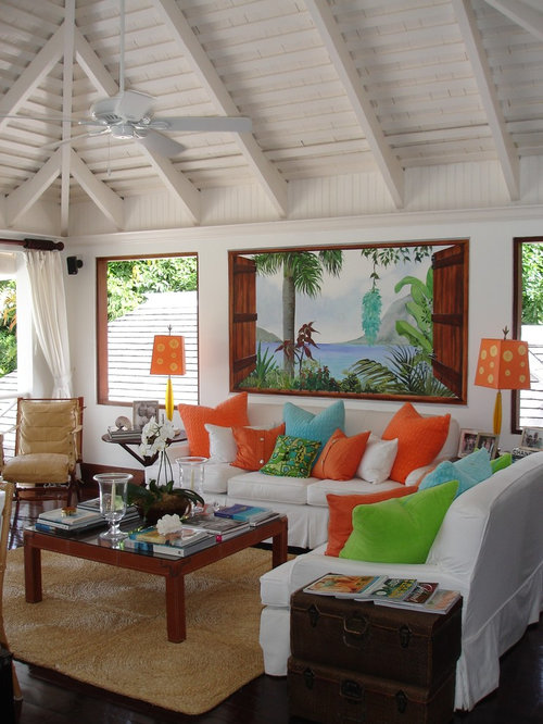 Example Of An Island Style Living Room Design In New York