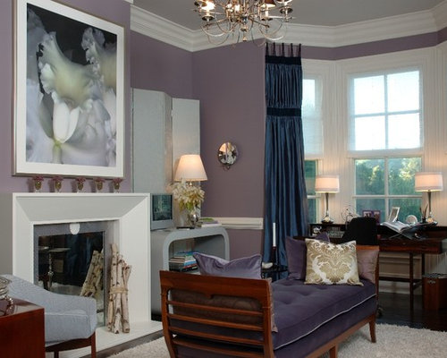 Example Of An Ornate Living Room Design In New York With Purple Walls And A  Standard