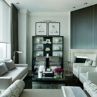 Modernes Wohnzimmer mit Eckkamin in Chicago