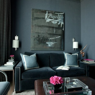 This is an example of a traditional living room in Chicago with blue walls.