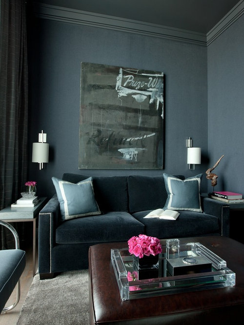 Inspiration For A Contemporary Home Theater Remodel In Chicago With Blue  Walls