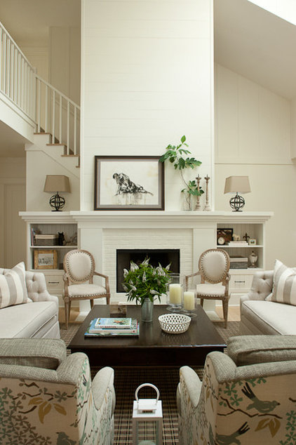 Farmhouse Living Room by jamesthomas, LLC