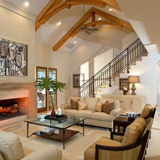 Inspiration for a large traditional formal open concept living room in Orlando with white walls, ceramic floors, a standard fireplace and a stone fireplace surround.