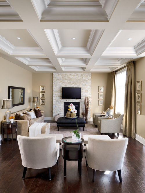 Inspiration For A Timeless Enclosed Living Room Remodel In Toronto With A  Stone Fireplace Surround,