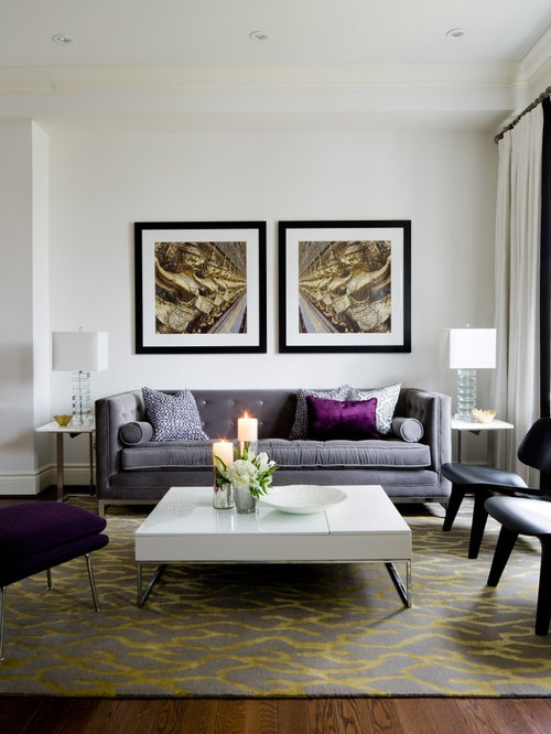 Inspiration For A Transitional Living Room Remodel In Toronto With White Walls