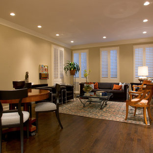 Inspiration For An Eclectic Dark Wood Floor And Brown Floor Living Room  Remodel In Chicago With