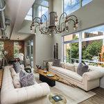 Cortland Linen Modern Chesterfield Sofa Midcentury