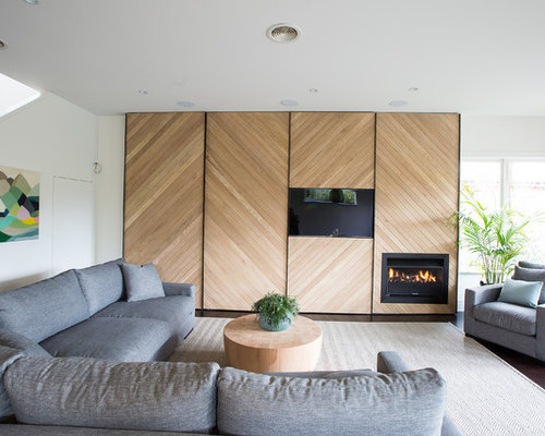 Example Of A Dark Wood Floor Living Room Design In Melbourne With White  Walls, A Part 43