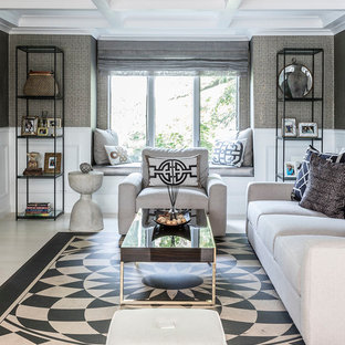 Transitional formal multicolored floor living room photo in New York with gray walls