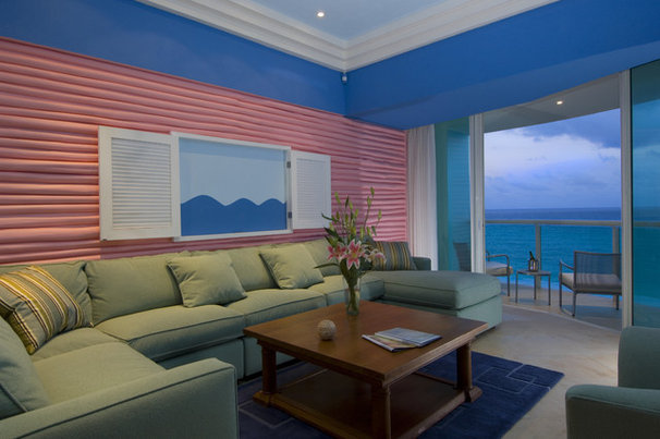Tropical Living Room by Jerry Jacobs Design, Inc.